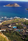 Oceanic Institute and Sea Life Park seen from Waimanalo cliffs with rabbit island off the coastline