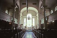 "Philadelphia: Christ Church, interior--1727-1744. Palladian window and ""wine-glass"" pulpit."