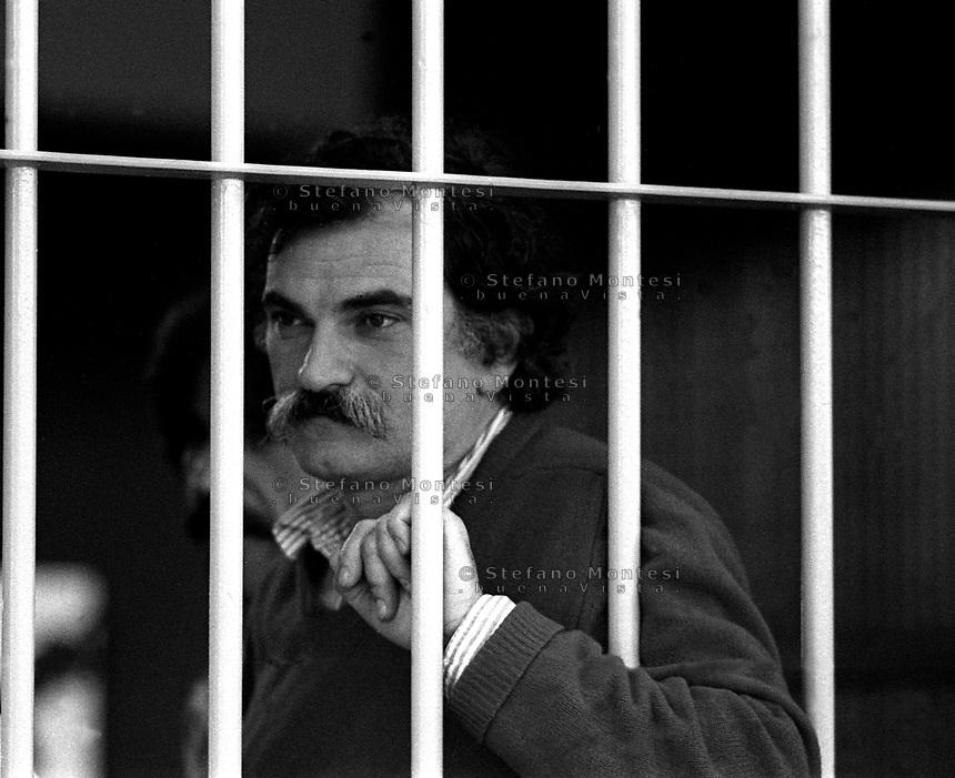 Roma 1987<br /> Aula bunker del Foro Italico<br /> Processo Moro-Ter alle Brigate Rosse. Giovanni Senzani