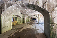 The historic Fort Totten Water Battery in Fort Totten in the Bayside neighborhood of Queens in New York on Sunday, June 15, 2014. Construction on the historic fort started in 1862 on Willet's Point overlooking the East River into Long Island Sound. The arches on the first floor casemates are constructed of granite held together only by gravity.  (© Richard B. Levine)