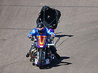 Feb 28, 2016; Chandler, AZ, USA; NHRA top fuel Harley motorcycle rider Jay Turner during the Carquest Nationals at Wild Horse Pass Motorsports Park. Mandatory Credit: Mark J. Rebilas-
