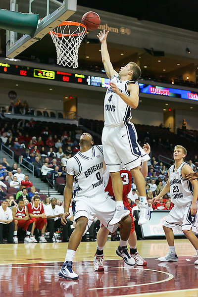Dec. 23, 2009. Las Vegas, NV: BYU's Jackson Emery goes for the tip-in at the Orleans Arena against Nebraska.