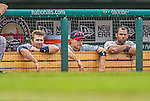 9 June 2013: Minnesota Twins utilityman Jamey Carroll (center) watches from the dugout during a game against the Washington Nationals at Nationals Park in Washington, DC. The Nationals shut out the Twins 7-0 in the first game of their day/night double-header. Mandatory Credit: Ed Wolfstein Photo *** RAW (NEF) Image File Available ***
