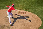 27 April 2014: Washington Nationals pitcher Jerry Blevins on the mound against the San Diego Padres at Nationals Park in Washington, DC. The Padres defeated the Nationals 4-2 to to split their 4-game series. Mandatory Credit: Ed Wolfstein Photo *** RAW (NEF) Image File Available ***
