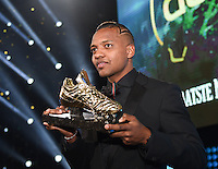 20170208 – LINT ,  BELGIUM : Jose Izquierdo winner of the Golden Shoe 2017 pictured during the  63nd men edition of the Golden Shoe award ceremony and 1st Women's edition, Wednesday 8 February 2017, in Lint AED studio. The Golden Shoe (Gouden Schoen / Soulier d'Or) is an award for the best soccer player of the Belgian Jupiler Pro League championship during the year 2016. The female edition is a first in Belgium.  PHOTO DIRK VUYLSTEKE   Sportpix.be