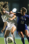 13 October 2011: North Carolina's Megan Brigman (3) and Duke's Laura Weinberg (16). The University of North Carolina Tar Heels defeated the Duke University Blue Devils 1-0 at Fetzer Field in Chapel Hill, North Carolina in an NCAA Division I Women's Soccer game.