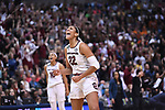 DALLAS, TX - MARCH 31:  A'ja Wilson #22 of the South Carolina Gamecocks celebrates during the 2017 Women's Final Four at American Airlines Center on March 31, 2017 in Dallas, Texas. (Photo by Justin Tafoya/NCAA Photos via Getty Images)