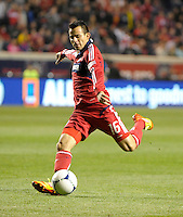Chicago Fire midfielder Marco Pappa (16) shoots the ball.  The Chicago Fire defeated the Philadelphia Union 1-0 at Toyota Park in Bridgeview, IL on March 24, 2012.