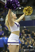 Dec 28, 2015:  Washington cheer member Jordan French entertained fans during a TV timeout.   Washington defeated UC Santa Barbara 83-78 at Alaska Airlines Arena in Seattle, WA.