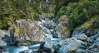 Rob Roy creek in Matukituki Valley, Mt. Aspiring National Park, Central Otago, UNESCO World Heritage Area, New Zealand, NZ