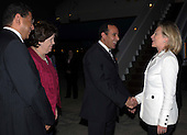 United States Secretary of State Hillary Rodham Clinton bids farewell to Mohamed Hani Metwali, Governor of Egypt's South Sinai governorate, U.S. Ambassador to Egypt Margaret Scobey, and an official from the Egyptian Foreign Ministry look on in Sharm El Sheikh, Egypt, on Tuesday, September 14, 2010. .Credit: Department of State via CNP..