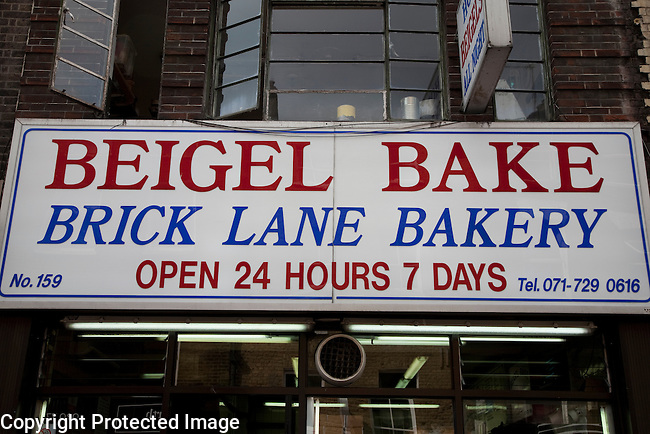 Sign of Beigel Bake, Brick Lane Bakery, London, England, UK