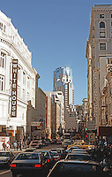 "San Francisco: Looking south on Grant to ""that thing""--the new Marriott.  Photo '89."