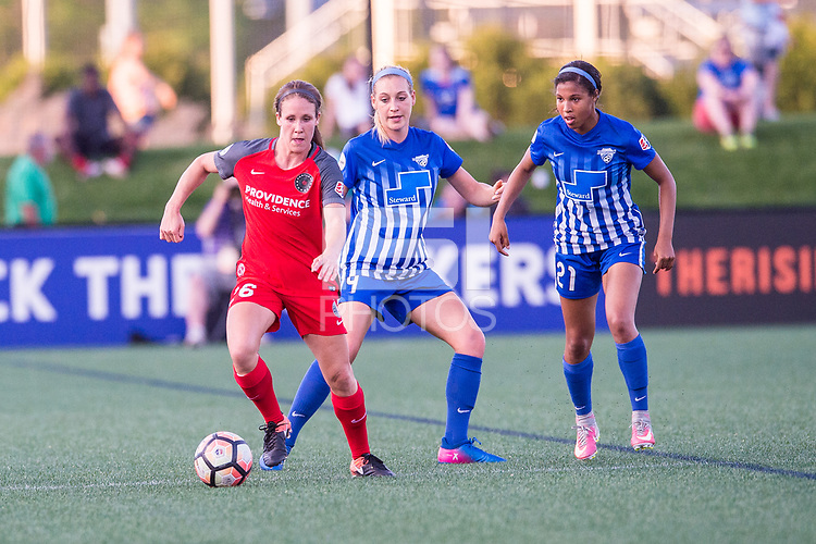 Boston, MA - Friday May 19, 2017: Mallory Weber, Megan Oyster and Margaret Purce during a regular season National Women's Soccer League (NWSL) match between the Boston Breakers and the Portland Thorns FC at Jordan Field.