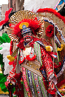 A mummer stands ready on Broad Street for his brigade's performance in the Philadelphia Mummer's Parade on New Year's Day 2006.