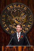 TALLAHASSEE, FLA. 3/3/15-Senate President Andy Gardiner, R-Orlando, speaks during the opening day of the 2015 Legislative Session Tuesday at the Capitol in Tallahassee.<br /> <br /> COLIN HACKLEY PHOTO