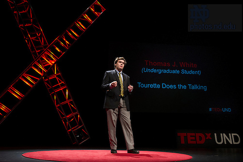 """Jan. 21, 2014; Thomas J. White delivers his talk titled, """"Tourette Does the Talking,"""" during the TEDxUND 2014 event in the Debartolo Performing Arts Center. Photo by Barbara Johnston/University Photographer"""