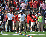 Ole Miss assistant Tom Allen celebrates a turnover vs. Auburn at Vaught-Hemingway Stadium in Oxford, Miss. on Saturday, October 13, 2012. ..