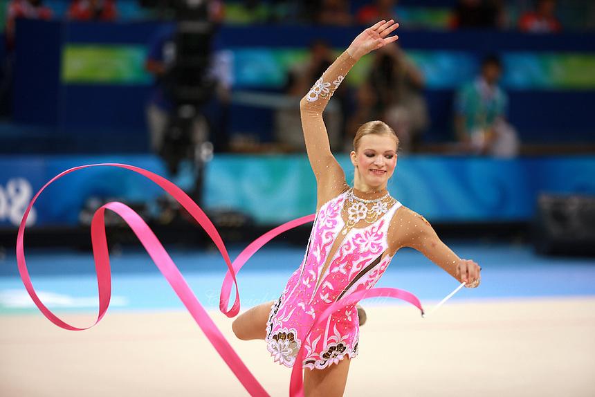 August 22, 2008; Beijing, China; Rhythmic gymnast Olga Kapranova of Russia performs ribbon routine during qualifying round at 2008 Beijing Olympics. Copyright 2008 Tom Theobald