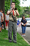 Boy Scout bugler during Merrick Memorial Day Ceremony on May 28, 2012, on Long Island, New York, USA. America's war heroes are honored on this National Holiday.