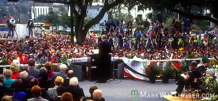 Lawton Chiles at the podium after his inauguration after being sworn in as Florida 41st Governor on January 7, 1991 in front of the historic Florida Capitol in Tallahassee, Florida.