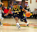 13 December 2009: Quinnipiac University Bobcats' guard James Johnson, a Sophomore from Queens, NY, in action against the University of Vermont Catamounts at Patrick Gymnasium in Burlington, Vermont. The Catamounts defeated the visiting Bobcats 80-77 to mark the Cats' season home opener with a win. Mandatory Credit: Ed Wolfstein Photo