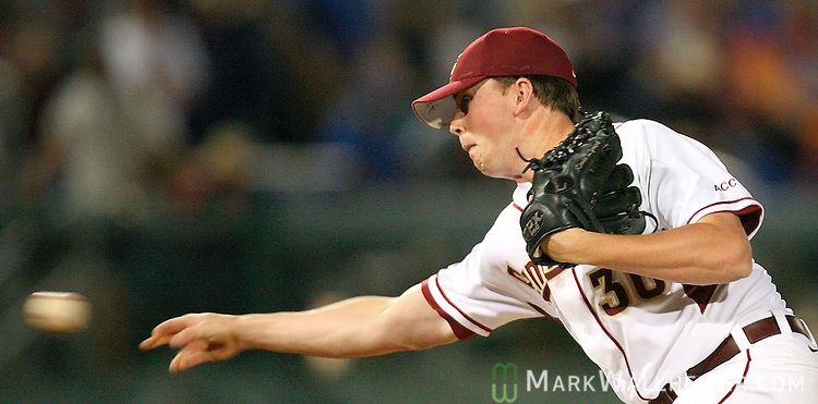 FSU pitcher Brian Chambers was the 7th pitcher to take the mound in FSU's 5-4 loss to the Florida Gators in Tallahassee Wednesday April 18, 2007.  (Mark Wallheiser/TallahasseeStock.com)