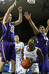 UK forward Samarie Walker gets bogged down by heavy LSU defense during the second half of the women's basketball game vs. LSU Memorial Coliseum , in Lexington, Ky., on Sunday, January 27, 2013. Photo by Genevieve Adams  | Staff.