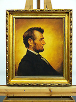 Framed Digital Reproduction of Abraham Lincoln (1809-1865)16th US President. FRAMED SIZE 31&quot; x 27&quot; Stretcher Size: 24&quot; x 20&quot; <br />