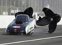 Nov 12, 2016; Pomona, CA, USA; NHRA top alcohol funny car driver D.J. Cox Jr during qualifying for the Auto Club Finals at Auto Club Raceway at Pomona. Mandatory Credit: Mark J. Rebilas-USA TODAY Sports