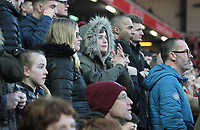 Burnley fans nervously watch the second half action<br /> <br /> Photographer Rich Linley/CameraSport<br /> <br /> The Premier League - Liverpool v Burnley - Sunday 12 March 2017 - Anfield - Liverpool<br /> <br /> World Copyright &copy; 2017 CameraSport. All rights reserved. 43 Linden Ave. Countesthorpe. Leicester. England. LE8 5PG - Tel: +44 (0) 116 277 4147 - admin@camerasport.com - www.camerasport.com