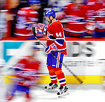 10 February 2010: Montreal Canadiens' defenseman Roman Hamrlik skates past the team bench celebrating a goal against the Washington Capitals at the Bell Centre in Montreal, Quebec, Canada. The Canadiens defeated the Capitals 6-5 in sudden death overtime, ending Washington's team-record winning streak at 14 games. Mandatory Credit: Ed Wolfstein Photo
