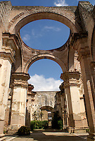 Ruins of the Spanish colonial Cathedral in Antigua, Guatemala. Antigua is a UNESCO World heritage site...