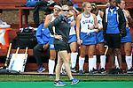 25 September 2016: Duke head coach Pam Bustin. The University of North Carolina Tar Heels hosted the Duke University Blue Devils at Francis E. Henry Stadium in Chapel Hill, North Carolina in a 2016 NCAA Division I Field Hockey match. UNC won the game 3-2.