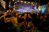Thousands of people danced to klezmer music in the center of Kazimerz during the 20th Krakow Jewish Festival...Before the fall of communism in Poland, the former Jewish neighborhood of Kazimerz in Krakow was run down and dangerous to visit at night. Today, the area draws thousdands of tourists a year from around the world. The neighborhood was once a bustling center of Jewish life before it was wiped out during WWII. Jewish-themed restaurants and cafes serve traditional Jewish and Polish cuisine and restored synagogues contain exhibits detailing pre-war Jewish life in Poland. Some controversy exists over anti-Semitic paintings and woodwork in some gift shops and restaurants. Kazimerz is also the center of Krakow's night life, where tourists and students visit a variety of bars and night clubs. Klezmer music has seen a comeback as well, and musicians play concerts weekly. A short walk across the river to the south takes you to the former wartime ghetto and Oscar Schindler's factory, famously depicted in Steven Spielberg's film Schindler's List. The film was one of the determining factors in bringing attention to the Kazimerz district, resulting in massive restoration efforts.