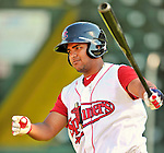 30 June 2012: Lowell Spinners' catcher Oscar Perez awaits his turn in the batting cage prior to a game against the Vermont Lake Monsters at Centennial Field in Burlington, Vermont. Mandatory Credit: Ed Wolfstein Photo