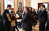 Ed Miliband <br /> leader of the Labour Party <br /> speech at RIBA Royal Institute of British Architecture, London, Great Britain <br /> 29th April 2015 <br /> General Election Campaign 2015 <br /> <br /> Michael Crick speaking to Labour activists dressed as Tories giving out Secret Tories' Plan envelopes to delegates and press <br /> <br /> <br /> Photograph by Elliott Franks <br /> Image licensed to Elliott Franks Photography Services