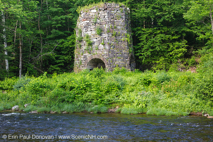 Stone Iron Furnace in Franconia,  New Hampshire USA. This is the only blast furnace still standing in New Hampshire. It was used for smelting iron ore.