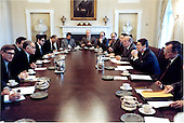 United States President Ronald Reagan holds talks with Prime Minister Yitzhak Shamir of Israel in the Cabinet Room in the White House in Washington, D.C. on Saturday, May 14, 1983..Mandatory Credit: Michael Evans - White House via CNP