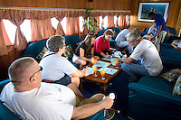 November 30th, 2008_MALDIVES_ Passengers on a live-aboard dive boat in the Maldives called the Manthiri. The Maldives is the world's lowest nation in altitude and is a risk of being submerged by rising sea levels.  Photographer: Daniel J. Groshong/Tayo Photo Group