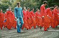 "ROMANIA, Aviatorilor Av., Bucharest, 23.04.1978.An ""alien blue"" silhouette among ""sincere"" communists parading on August 23..© Andrei Pandele / EST&OST"