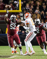 The tenth ranked South Carolina Gamecocks host the 6th ranked Clemson Tigers at Williams-Brice Stadium in Columbia, South Carolina.  USC won 31-17 for their fifth straight win over Clemson.  South Carolina Gamecocks defensive tackle Phillip Dukes (52), Clemson Tigers quarterback Tajh Boyd (10)