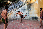 _SM21775, 01/2012, Mandalay, Myanmar/Burma, BURMA-10489NF. Men play soccer.<br />