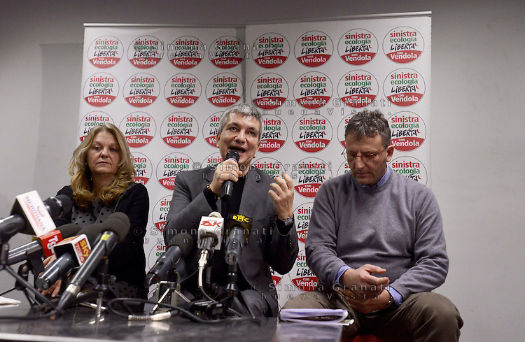 Roma, 21 Gennaio 2013.Nichi Vendola presenta i candidati di sinistra Ecologia Libertà del Lazio.Con Nichi Vendola Massimiliano Smeriglio e Loredana De Petris