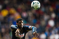 Sheanon Williams (25) of the Philadelphia Union on a throw in. The Philadelphia Union defeated the Chicago Fire 1-0 during a Major League Soccer (MLS) match at PPL Park in Chester, PA, on May 18, 2013.