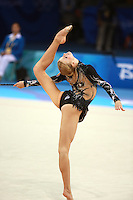 August 23, 2008; Beijing, China; Rhythmic gymnast Olga Kapranova of Russia performs balance in ring position with clubs routine on way to placing 4th in the All-Around final at 2008 Beijing Olympics..
