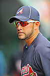 13 March 2012: Atlanta Braves catcher J.C. Boscan stands in the dugout prior to a Spring Training game against the Miami Marlins at Roger Dean Stadium in Jupiter, Florida. The two teams battled to a 2-2 tie playing 10 innings of Grapefruit League action. Mandatory Credit: Ed Wolfstein Photo