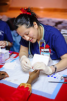 Columbia University Medical Center. Nursing School students with Liz Cohen health project at Abbysinian Church in Harlem.