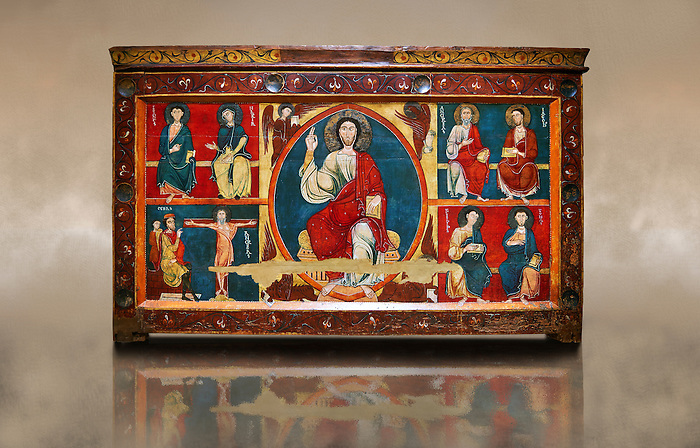 The Romanesque Altar Front of Baltarga<br /> <br /> Around 1200, Tempera on wood with metalic ornamention from the church of Saint Andreu (Andrew) of Baltarga, Catalonia, Spain.<br /> <br /> National Art Museum of Catalonia, Barcelona. MNAC 15804<br /> <br /> The Romanesque paintings depict scenes from the life and the martyrdom of St. Andrew. At its centre is a theophany with Christ Pantocrator (Majesty) surrounded by a Mandorla around which is a tetramorph with the symbols of the four evangelists, St Matthew the man, St Mark the lion, St Luke the ox, and John the eagle.. Eastern influences are especially evident in this magnificent altar frontal, which has an elegant palette of colours, with sophisticated soft flesh tones. The work seems most  likely to have come from the workshop of  highly skilled Greek painters,  which was installed in the vicinity of the monastery of Sant Marti Canigo and signed at least one of their works (now defunct) as Magister Alexander.