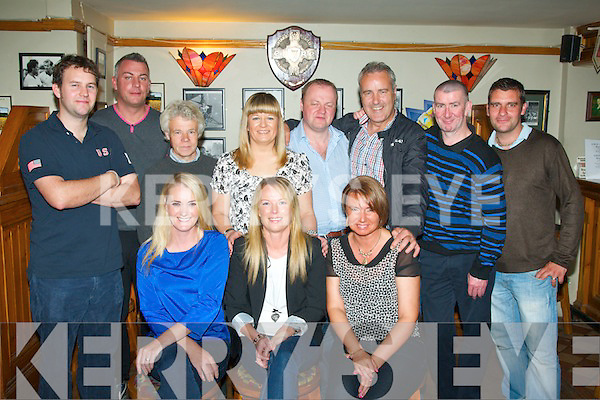 BIRTHDAY WISHES: Therese McNerney, Marian Park,Tralee (seated centre) enjoyed a great evening in Dowdies bar, Tralee, Saturday night last. Pictured l-r: Mary O'Shea (Lt)and Susie Cournane. Back l-r: Trevor O'Shea, Dermot Cotter,Ger Locke, Martha O'Donovan, Pat Clifford, Timmy Dowd, Jerome McNamara and Nigel Capper.